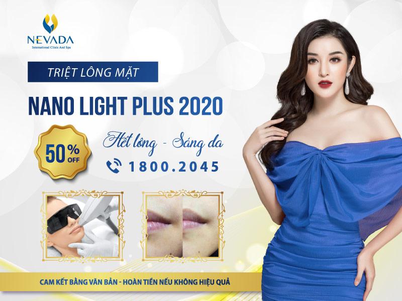 Triệt lông mặt công nghệ Nano Light Plus 2020 | Không còn lông, da mặt sáng mịn