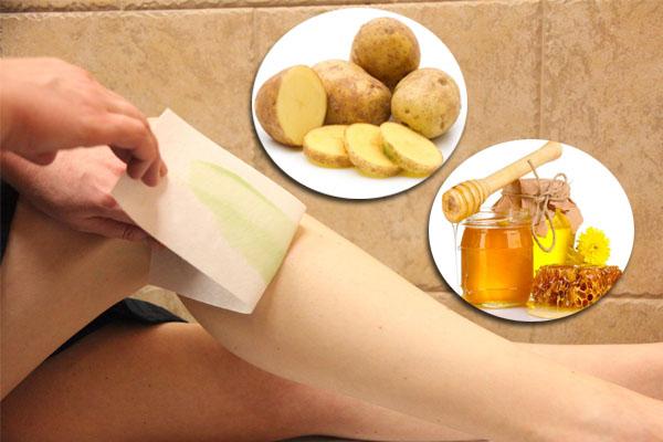 Cách tẩy lông chân bằng khoai tây với mật ong