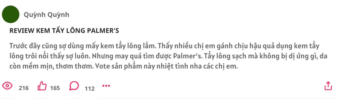 kem tẩy lông palmer's, kem tẩy lông palmer's có tốt không, kem tẩy lông palmer's review, kem tẩy lông toàn thân palmer's
